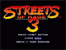 Title screen of Streets of Rage 3 on the Sega Genesis.