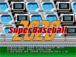 Title screen of Super Baseball 2020 on the Sega Genesis.
