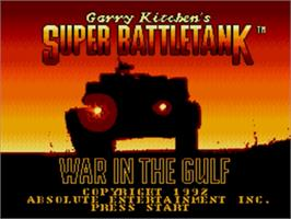 Title screen of Super Battletank: War in the Gulf on the Sega Genesis.