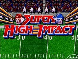 Title screen of Super High Impact on the Sega Genesis.