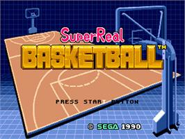 Title screen of Super Real Basketball on the Sega Genesis.