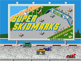 Title screen of Super Skidmarks on the Sega Genesis.