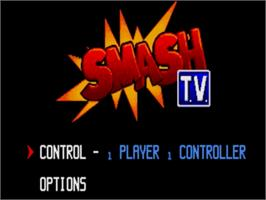 Title screen of Super Smash T.V. on the Sega Genesis.
