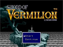 Title screen of Sword of Vermilion on the Sega Genesis.