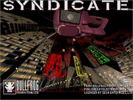 Title screen of Syndicate on the Sega Genesis.