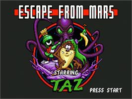 Title screen of Taz in Escape from Mars on the Sega Genesis.