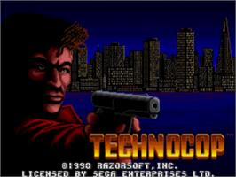 Title screen of Techno Cop on the Sega Genesis.