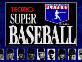 Title screen of Tecmo Super Baseball on the Sega Genesis.