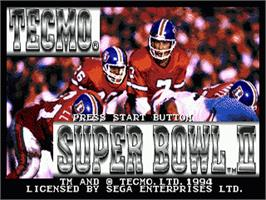 Title screen of Tecmo Super Bowl II: Special Edition on the Sega Genesis.