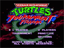 Title screen of Teenage Mutant Ninja Turtles: Tournament Fighters on the Sega Genesis.