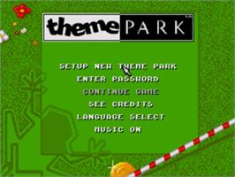 Title screen of Theme Park on the Sega Genesis.