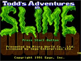 Title screen of Todd's Adventures in Slime World on the Sega Genesis.