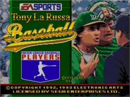 Title screen of Tony La Russa Baseball on the Sega Genesis.
