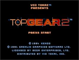 Title screen of Top Gear 2 on the Sega Genesis.