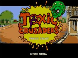 Title screen of Toxic Crusaders on the Sega Genesis.