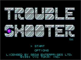 Title screen of Trouble Shooter on the Sega Genesis.
