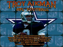 Title screen of Troy Aikman NFL Football on the Sega Genesis.