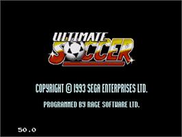 Title screen of Ultimate Soccer on the Sega Genesis.