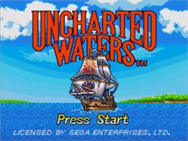 Title screen of Uncharted Waters on the Sega Genesis.