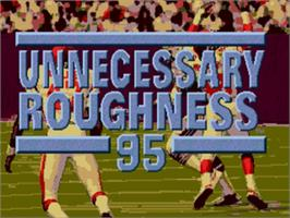 Title screen of Unnecessary Roughness '95 on the Sega Genesis.
