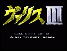 Title screen of Valis 3 on the Sega Genesis.