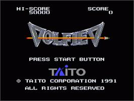 Title screen of Volfied on the Sega Genesis.