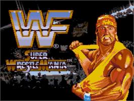 Title screen of WWF Super Wrestlemania on the Sega Genesis.