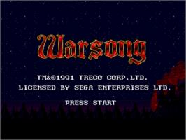 Title screen of Warsong on the Sega Genesis.