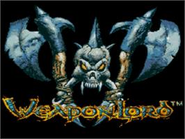 Title screen of Weaponlord on the Sega Genesis.