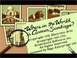 Title screen of Where in the World is Carmen Sandiego on the Sega Genesis.