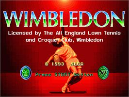 Title screen of Wimbledon Championship Tennis on the Sega Genesis.