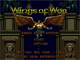 Title screen of Wings of Wor on the Sega Genesis.
