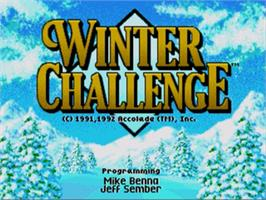 Title screen of Winter Challenge on the Sega Genesis.