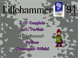 Title screen of Winter Olympics: Lillehammer '94 on the Sega Genesis.