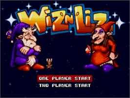 Title screen of Wiz 'n' Liz: The Frantic Wabbit Wescue on the Sega Genesis.
