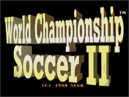 Title screen of World Championship Soccer 2 on the Sega Genesis.