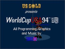 Title screen of World Cup USA '94 on the Sega Genesis.