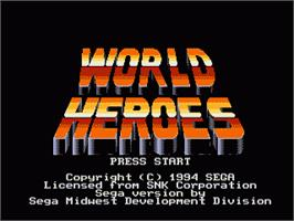 Title screen of World Heroes on the Sega Genesis.