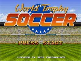Title screen of World Trophy Soccer on the Sega Genesis.