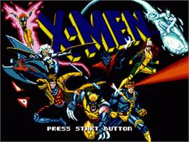 Title screen of X-Men on the Sega Genesis.