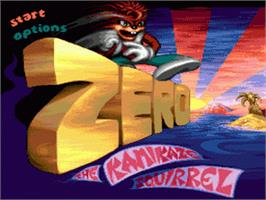 Title screen of Zero the Kamikaze Squirrel on the Sega Genesis.