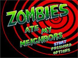 Title screen of Zombies Ate My Neighbors on the Sega Genesis.