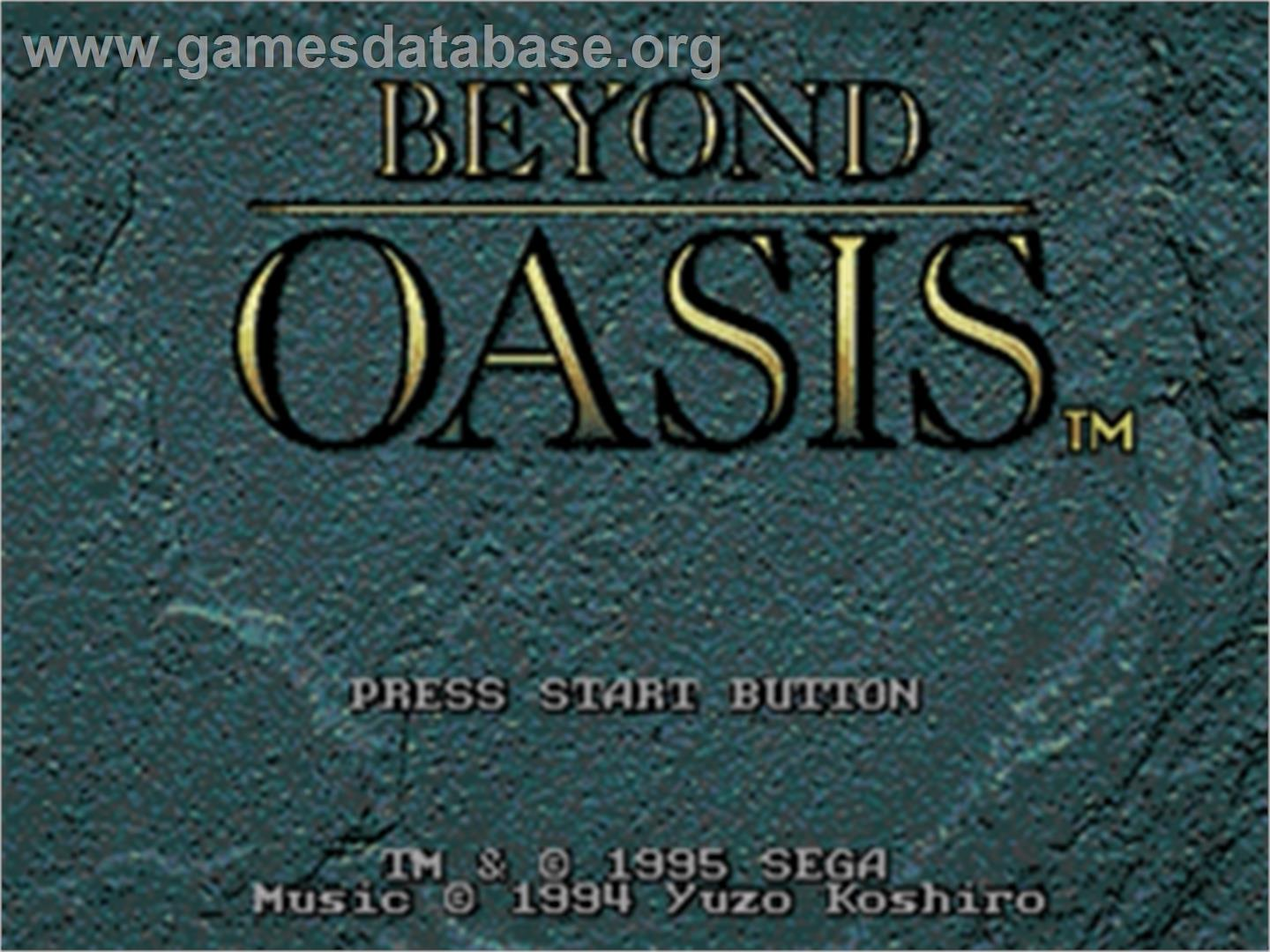 Beyond Oasis - Sega Genesis - Artwork - Title Screen