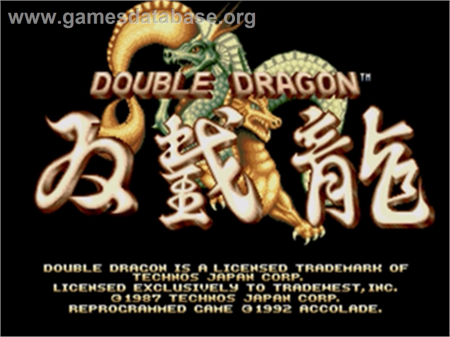 Double Dragon - Sega Genesis - Artwork - Title Screen