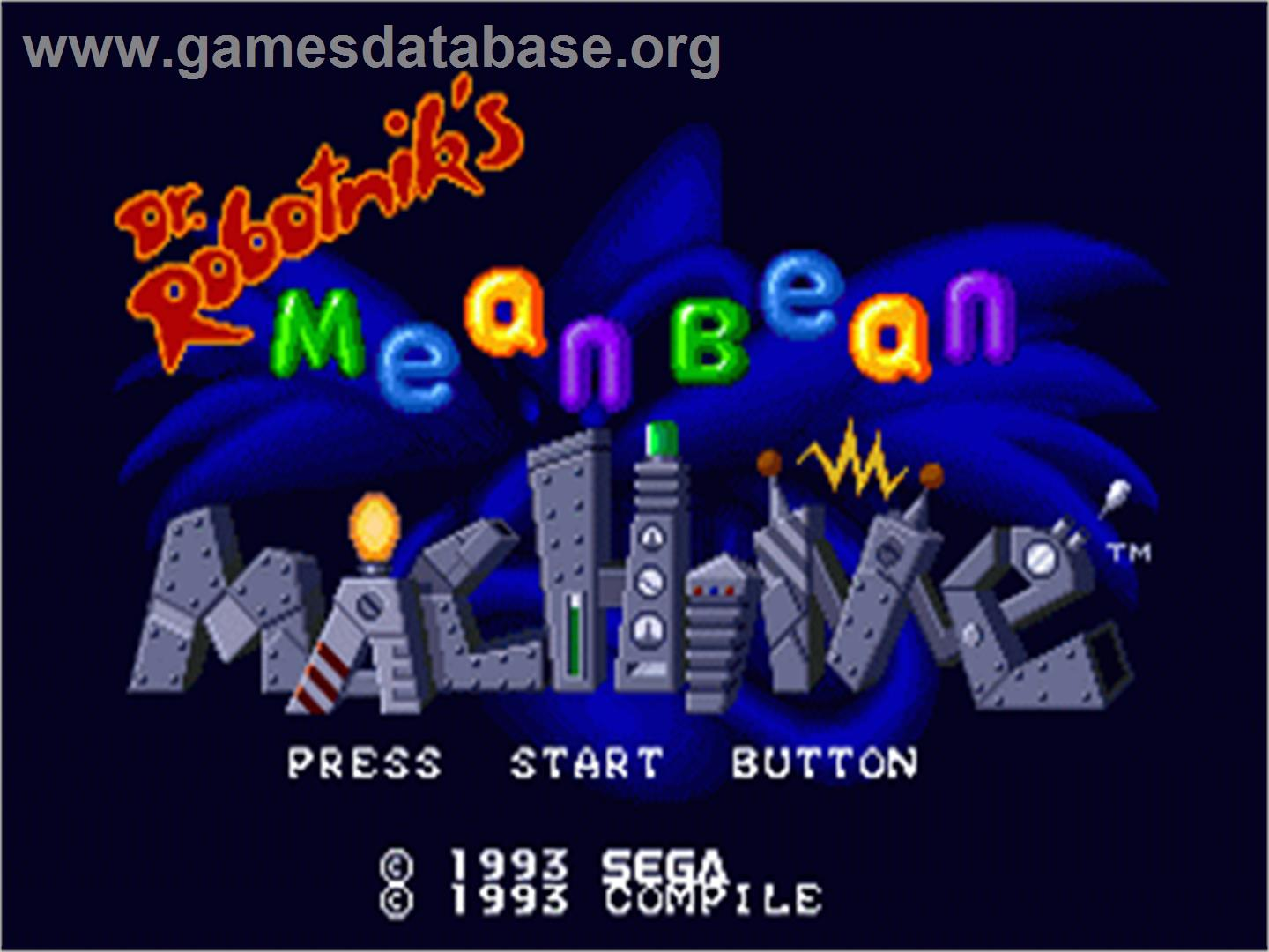 Dr. Robotnik's Mean Bean Machine - Sega Genesis - Artwork - Title Screen