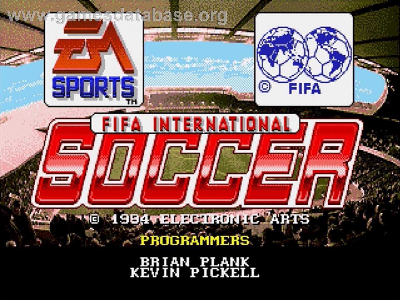 Title screen of FIFA International Soccer on the Sega Genesis.