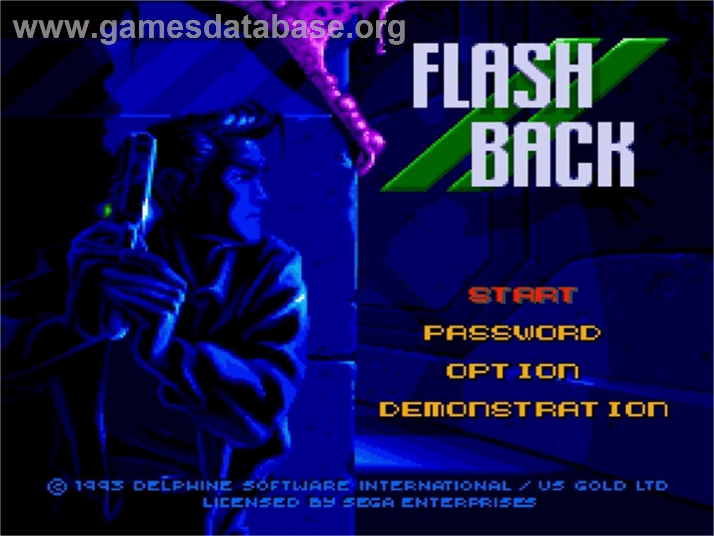 Title screen of Flashback on the Sega Genesis.