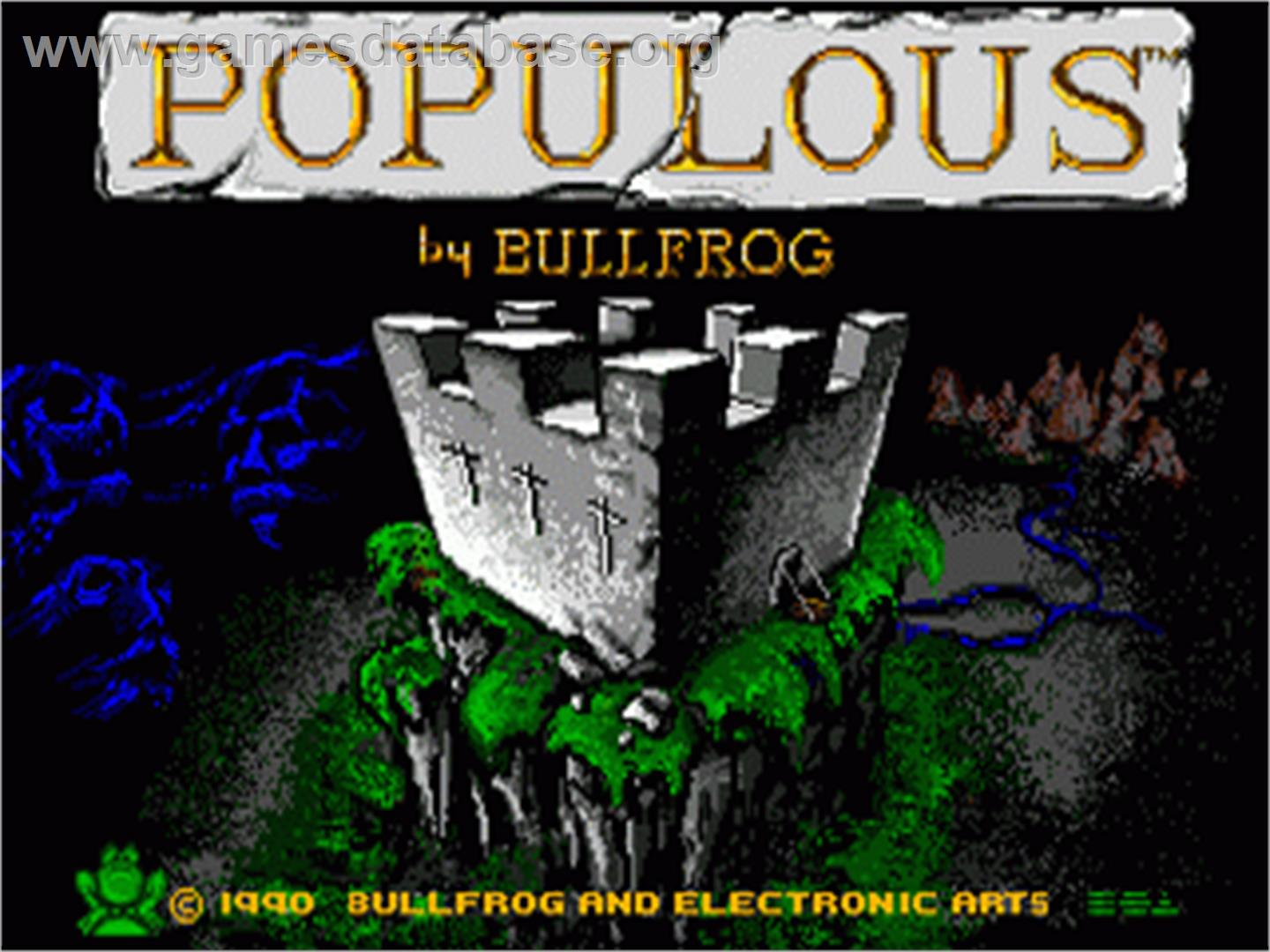 Title screen of Populous on the Sega Genesis.