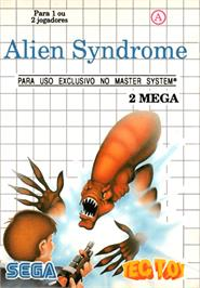 Box cover for Alien Syndrome on the Sega Master System.