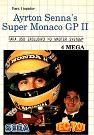 Box cover for Ayrton Senna's Super Monaco GP 2 on the Sega Master System.